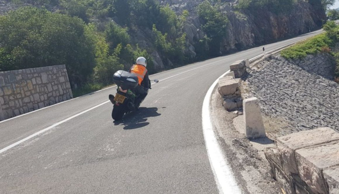Female rider on Kawasaki ZZR 1400 in Dubrovnik